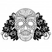 stock photo of day dead skull  - Skull and roses - JPG
