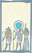 picture of horus  - Anubis and Horus with Rays of Light Egyptian hieroglyph in woodcut style - JPG