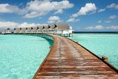 View Of Jetty Leading To Water Villas On The Maldives