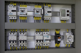 stock photo of contactor  - Industrial enclosure with electrical equipment - JPG