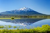 stock photo of bend  - Mount Bachelor being reflected in Sparks Lake near Bend Oregon - JPG
