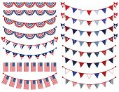 stock photo of waving  - Large Fourth of July Vector Set of Patriotic Bunting - JPG