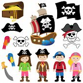 stock photo of skull crossbones flag  - Vector Illustration of Pirates with Ship - JPG