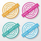 stock photo of shipping receiving  - Free shipping colorful paper labels - JPG