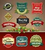 pic of candy cane border  - Collection of vintage retro grunge christmas labels - JPG