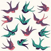 image of swallow  - Retro Styled Large Vector Collection of Swallows - JPG