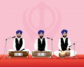 pic of granth  - an illustration of three traditionally dressed sikh temple musicians with blue turbans and black waistcoats on harmonium and tabla drums performing in a gurdwara - JPG