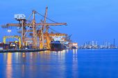 stock photo of export  - ship yard with heavy crane in beautiful twilight of day use for import export industry and international trading - JPG