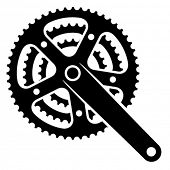 pic of recreational vehicle  - vector bicycle cogwheel sprocket crankset symbol  - JPG