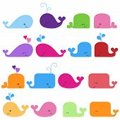 stock photo of whale-tail  - Rainbow Vector Set of Cute Cartoon Whales - JPG