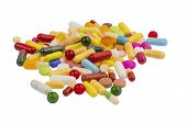 image of placebo  - many colorful pills on a white background - JPG