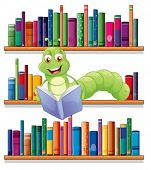 pic of green caterpillar  - Illustration of a caterpillar reading a book on a white background - JPG