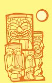 stock photo of tiki  - Mixed group of tikis side and front views - JPG