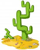 stock photo of cactus  - Desert environment cactus cartoon - JPG