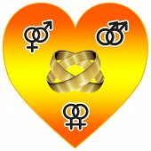 picture of same sex marriage  - Symbol for more tolerance regarding sexual orientiation same sex marriage - JPG