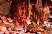 foto of salami  - Meat in butchery  - JPG