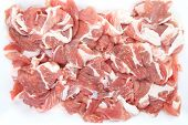 pic of stew  - fresh red meat chopped lying in plastic tray - JPG