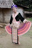 image of hmong  - Asian woman Laos in traditional clothes Hmong in a Hmong village near Vang Vieng - JPG