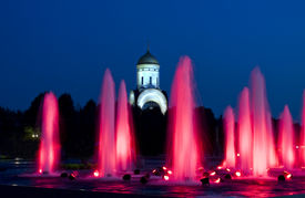 stock photo of prospectus  - Moscow fountains and church of St - JPG