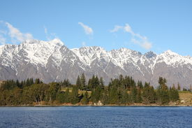 image of mountain-range  - Across Lake Wakatipu to the Remarkables mountain range in New Zealand - JPG