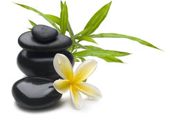 picture of spa massage  - Spa still life background with flower bamboo and massage stones - JPG