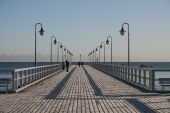 Gdynia Pier At Baltic Sea Coast In Poland Eastern Europe In Winter poster