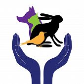 stock photo of life-support  - pet protection sign vector hand in people encouragement help - JPG