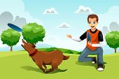 pic of frisbee  - A vector illustration of young man playing frisbee with his dog in the park - JPG