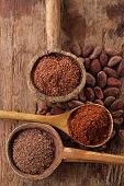 foto of chocolate spoon  - cocoa beans - JPG