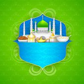 image of eid ka chand mubarak  - easy to edit vector illustration of decorated mosque on Eid Mubarak  - JPG