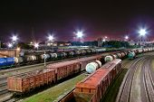 picture of railroad yard  - the night railroad classification yard in Kaliningrad - JPG