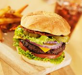 pic of hamburger  - hamburger with french fries and soft drink - JPG