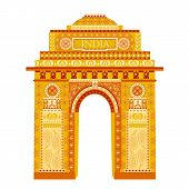 stock photo of india gate  - easy to edit vector illustration of India Gate in floral design - JPG
