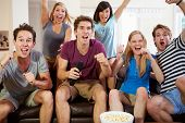 image of indoor games  - Friends Watching Sport Celebrating Goal - JPG