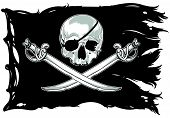 image of skull cross bones  - pirate flag with skull and crossed sabers - JPG