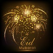 picture of ramazan mubarak  - Golden fireworks with stars for celebration of muslim community festival Eid Mubarak - JPG