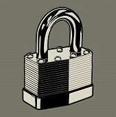 stock photo of locksmith  - Vector illustration of a metal pad lock - JPG