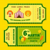 stock photo of circus clown  - Two vintage circus carnival birthday party invitation tickets templates with clown and balloon isolated vector illustration - JPG