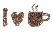 pic of coffee crop  - I love coffee symbols made of coffee beans isolated on white background - JPG