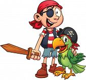 stock photo of pirate  - Pirate and parrot - JPG