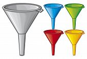 stock photo of lube  - funnels in different colour vector illustration on white background - JPG