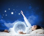 picture of boys night out  - Cute boy sleeping in bed with moon - JPG