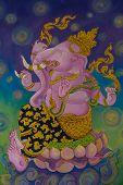 stock photo of ganesh  - God of Hindu Ganesh watercolor drawings on the wall - JPG