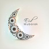 picture of eid mubarak  - Crescent moon decorated with flowers on shiny colourful background for muslim community festival Eid Mubarak celebrations - JPG