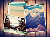 Vintage Travel Photos on Wood poster