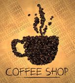 foto of vapor  - Cup Vapor Icon Coffee shop on Old Papers - JPG
