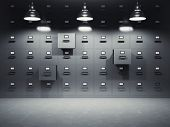 pic of file folders  - Room with file cabinets illuminated by lamps - JPG