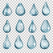 pic of teardrop  - Set of transparent drops of different forms in blue colors - JPG