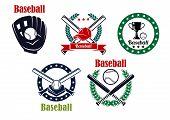 image of baseball bat  - Baseball heraldic emblems set isolated on white background with sport trophy - JPG