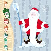 picture of long beard  - A hilarious magician Santa Claus with a stick long white beard on new year background - JPG